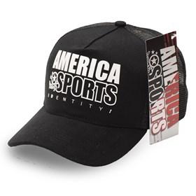 Boné America Sports Snapback 21 - Preto Branco