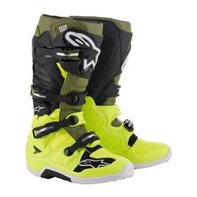 Bota Alpinestars Tech 7 - Amarelo Fluor Verde Militar Preto
