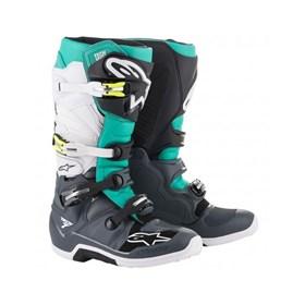 Bota Alpinestars Tech 7 - Cinza Verde Branco