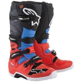 Bota Alpinestars Tech 7 - Vermelho Ciano Cinza e Preto
