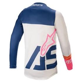 Camisa Alpinestars Racer Compass 21 - Branco Azul Rosa Flúor