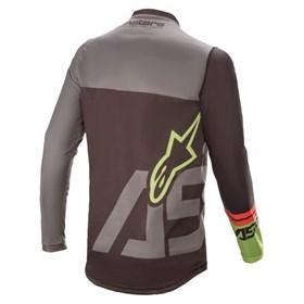 Camisa Alpinestars Racer Compass 21 - Preto Cinza Verde Flúor