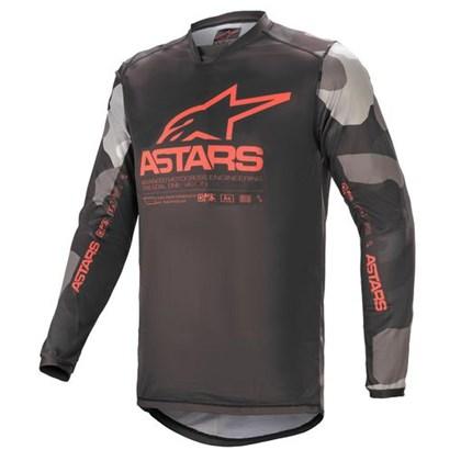 Camisa Alpinestars Racer Tactical 21 - Cinza Camo Vermelho Flúor