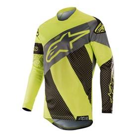 Camisa Alpinestars Racer Tech Atomic 19 Preto Amarelo Fluo Cinza
