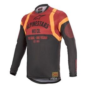 Camisa Alpinestars Racer Tech Flagship - Preto Vinho Laranja