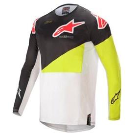 Camisa Alpinestars Techstar Factory 21 - Preto Amarelo Flúor Branco