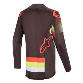 Camisa Alpinestars Techstar Venom 20 - Preto Vermelho Amarelo Flúor