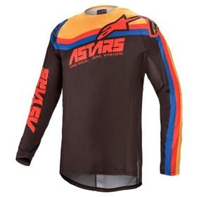 Camisa Alpinestars Techstar Venom 21 - Preto Vermelho Laranja