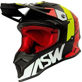 Capacete ASW Fusion 2.0 Seecker - Preto Vermelho Branco Amarelo
