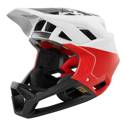 Capacete Fox Bike Proframe - Pistol Branco Preto Vermelho