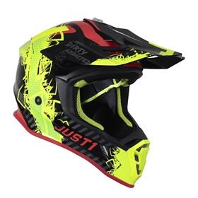 Capacete Just1 J38 Mask - Amarelo Flúor Vermelho Preto